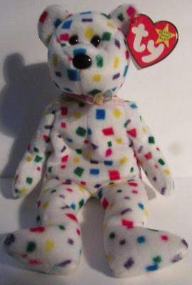 Ty Beanie Babies Ty2K the confetti bear w// Mint ear tag PE Pellets 1999
