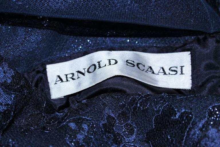 ARNOLD SCAASI Navy Metallic Lace Cocktail Dress S… - image 10