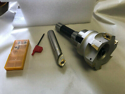 """New cnc 3/"""" Shell Mill Face Mill R8 Arbor /& 3//4/"""" Cutter With 10 APMT Inserts"""
