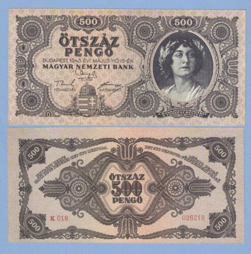 Hungary 500 pengo 1945 P 117x UNC incorrectly spelled NЯТЬСОТ error