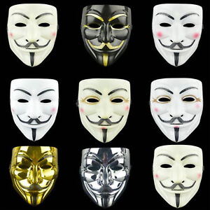 Details About Anonymous Hacker V Vendetta Game Master Face Masks Adult Halloween Party Cosplay