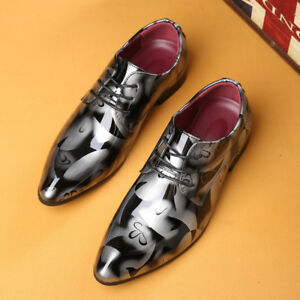 Mens-Patent-Leather-Shoes-Oxfords-Pointed-Toe-Lace-Up-Wedding-Formal-Dress-Party