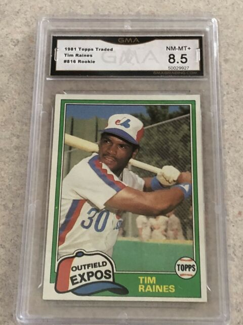 1981 Topps Traded Tim Raines Rookie Montreal Expos #816 Baseball Card GMA8.5