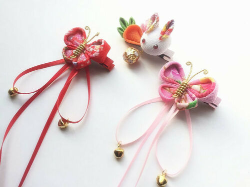 Handmade Hairpin Tsumami Zaiku Kanzashi butterfly bunny carrot for Kimono Hanfu