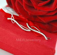 925 SOLID STERLING SILVER RHODIUM PLATED WAVE CUFF EARRINGS ZIRCONIA - EAR PIN