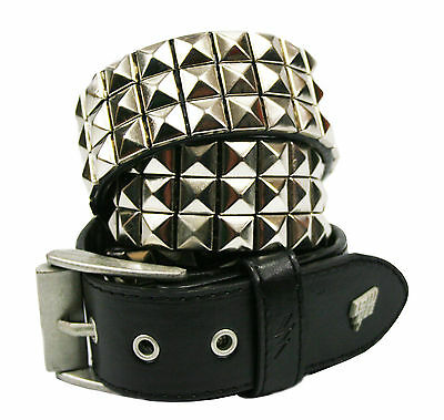 32INCH Lowlife Triple Studded Leather Belt in WHITE  S 28INCH