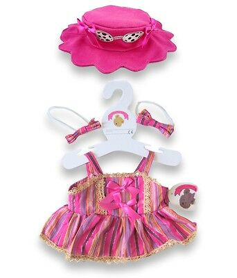 Teddy Bear Clothes fit Build a Bear Candy Stripe Dress Bows FREE Sunglass Hat