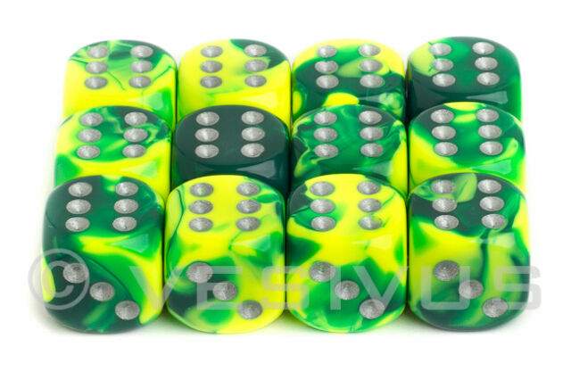 DICE Chessex Gemini GREEN YELLOW 12d6 d6 Block Set Marble Shiny 26654 Neon Girl