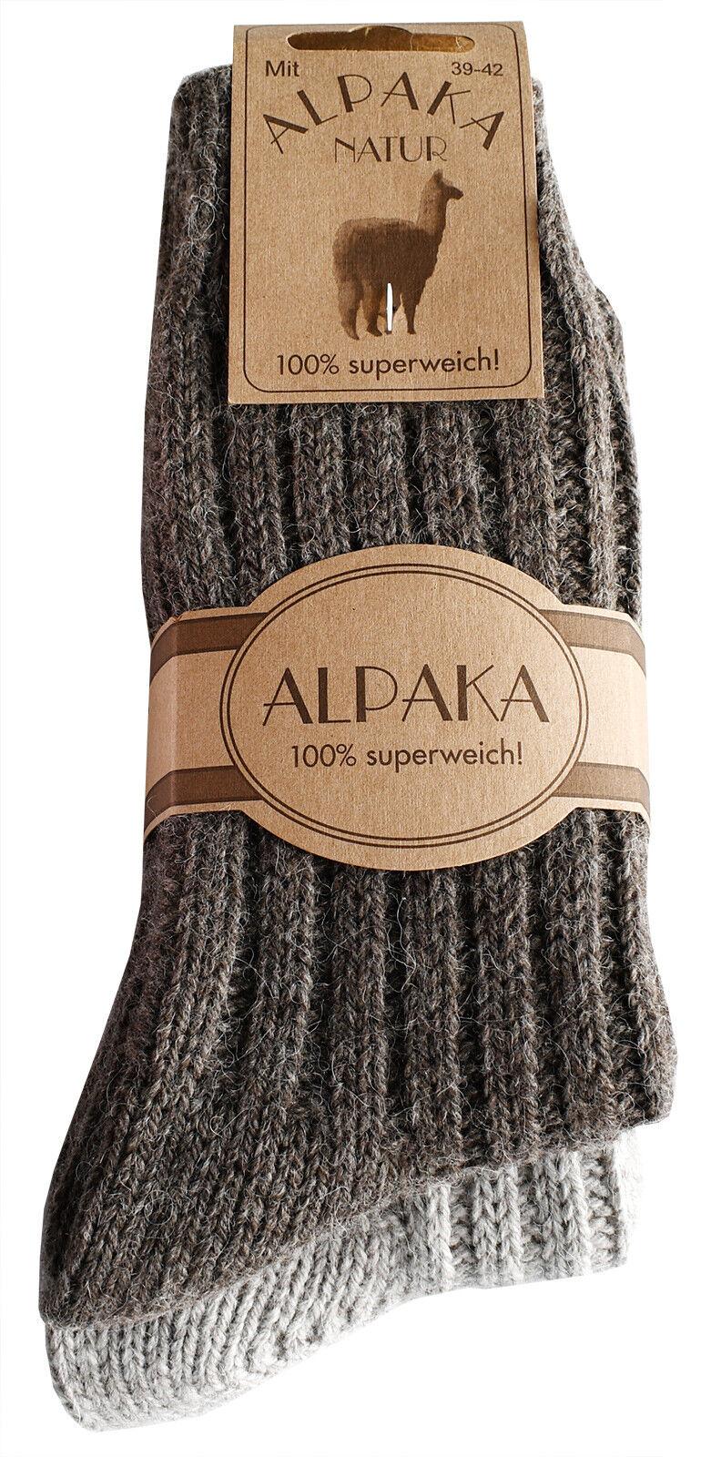 2 Paar Alpaka Socken Wollsocken Wintersocken kuschelig warm für Damen Herren