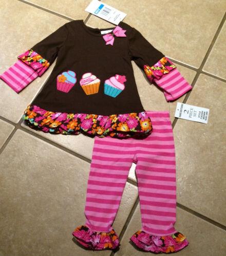 NWT  Girls Rare Editions Cupcake Birthday Tunic Ruffle Legging Set SIZES 12M 24M