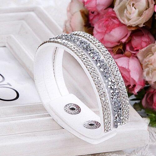 Bracelet Wrap Slake mode fashion strass gris argenté transparent bijou fantaisie