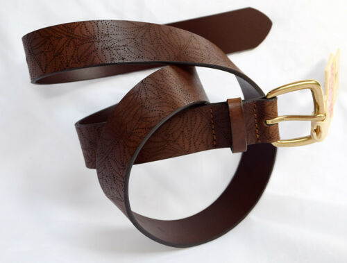 MOSSIMO Women's Brown Bonded Leather Belt Sizes XS,S,M,L,XL Laser Cut Leaves NWT