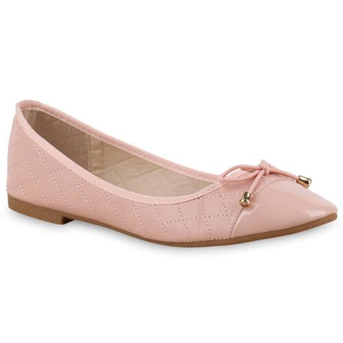 893132 Damen Ballerinas Lack Gesteppt Slipper Lederoptik Flats Schuhe Mode