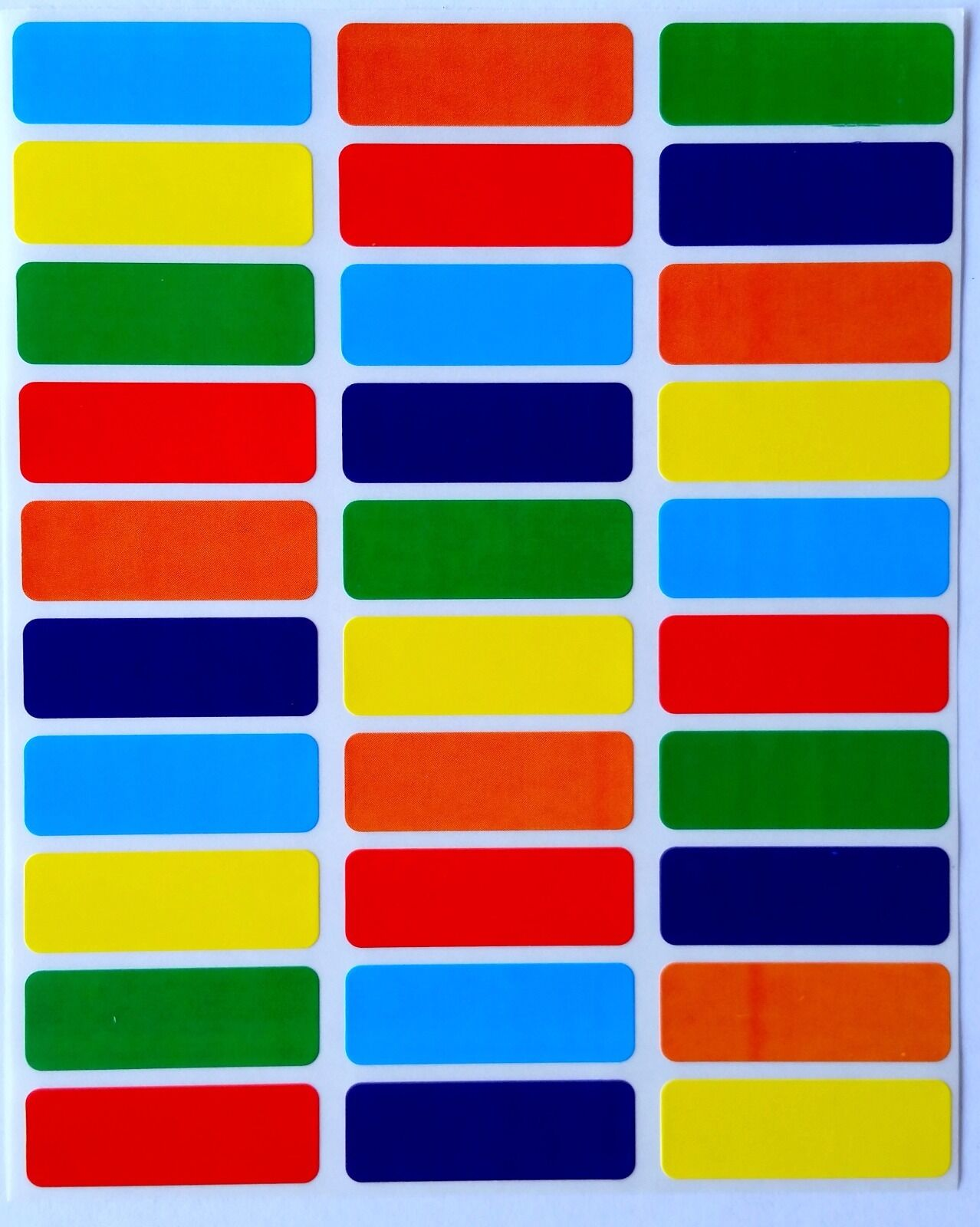 Rectangle Color Coding Red Yellow Orange Blue Purple Green