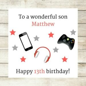 Personalised Birthday Card Son Brother Nephew Male 10th 12th 13th