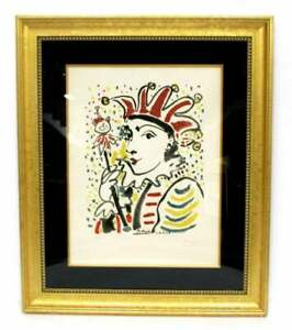 PABLO-PICASSO-HAND-SIGNED-LITHOGRAPH-CARNAVAL-CARNIVAL-LE-ROI-CARNIVAL-MOURLOT