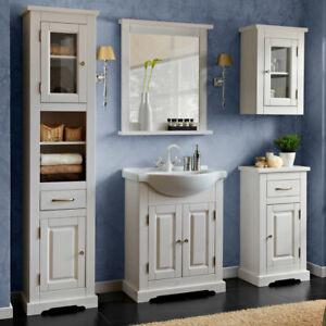 Details zu Landhaus Bad-Möbel Set massiv in weiß 65cm Keramik Waschtisch  Badezimmer-Schrank