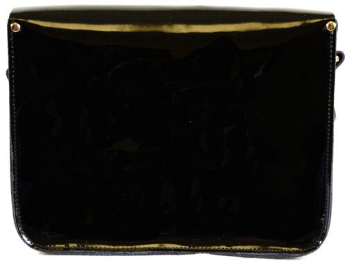 Borsa nera spalla nera in verniciata blu rossa Existencias no a pelle Hay a mano tracolla rwU08qrxg