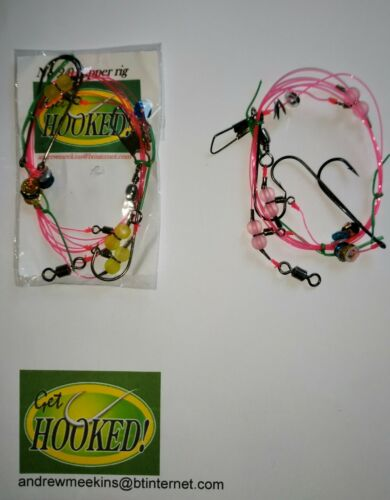 4 X Three hook flapper sea fishing rig/' made with No2 Aberdeen  hook/'s