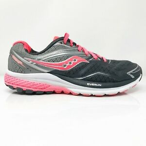 Saucony-Womens-Ride-9-S10318-1-Grey-Pink-Running-Shoes-Lace-Up-Low-Top-Size-8