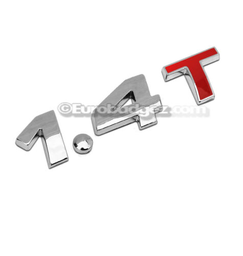 1 BRAND NEW 3D 1.4T Chrome Emblem Badge 19mm 1.4T CHROME RED fits VW Volkswagen