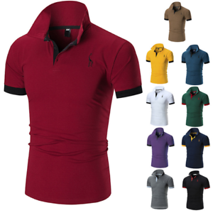 Men-039-s-Slim-Fit-Shirts-Short-Sleeve-Casual-Gol-T-Shirt-Jersey-Tops-Muscle-Tee