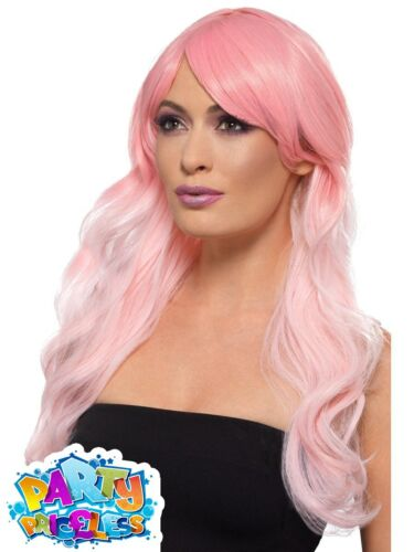 Ladies Pastel Pink Ombre Heat Resistant Wig Fancy Dress Costume Accessory Womens
