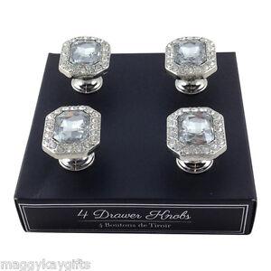 set of 4 octagonal shaped glass drawer knobs wardrobe cabinet decorative 5025310202048. Black Bedroom Furniture Sets. Home Design Ideas