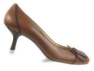 Cole-Haan-Women-s-Brown-Leather-Buckle-Kitten-Heel-Pump-Shoes-Size-7B-Brazil