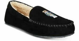 Polo-Ralph-Lauren-Memory-Foam-Bear-Slippers-Size-13-Mens-Black-New-No-Box