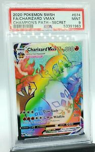 Pokemon Champions Path - Charizard VMAX Secret Rainbow Rare 74 / 73 - PSA 9 MINT