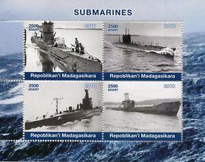 Madagascar 2018 MNH Submarines 4v M/S Boats Ships Nautical Stamps
