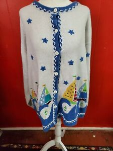 Quacker-Factory-Women-039-s-3X-Heavy-Cardigan-Sweater-Beach-Themed