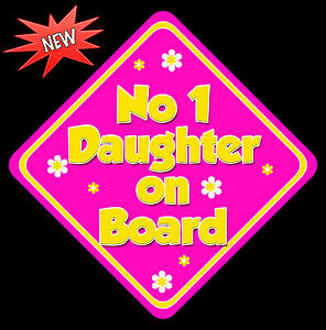 Non Personalised Child//Baby On Board Car Sign ~ Daughter On Board ~ Purple