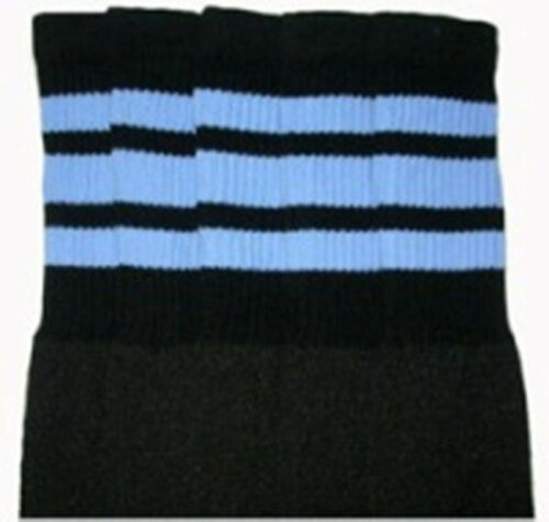 """25-32 25"""" KNEE HIGH BLACK tube socks with BABY BLUE stripes style 1"""