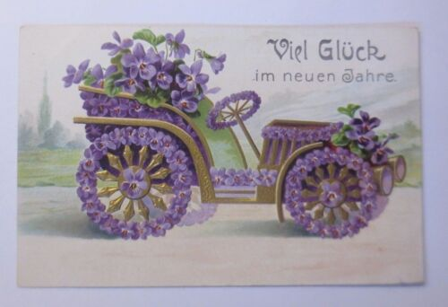 New Year, Car, Classic Car, Men's, violet 1906, Embossed Postcard 58460
