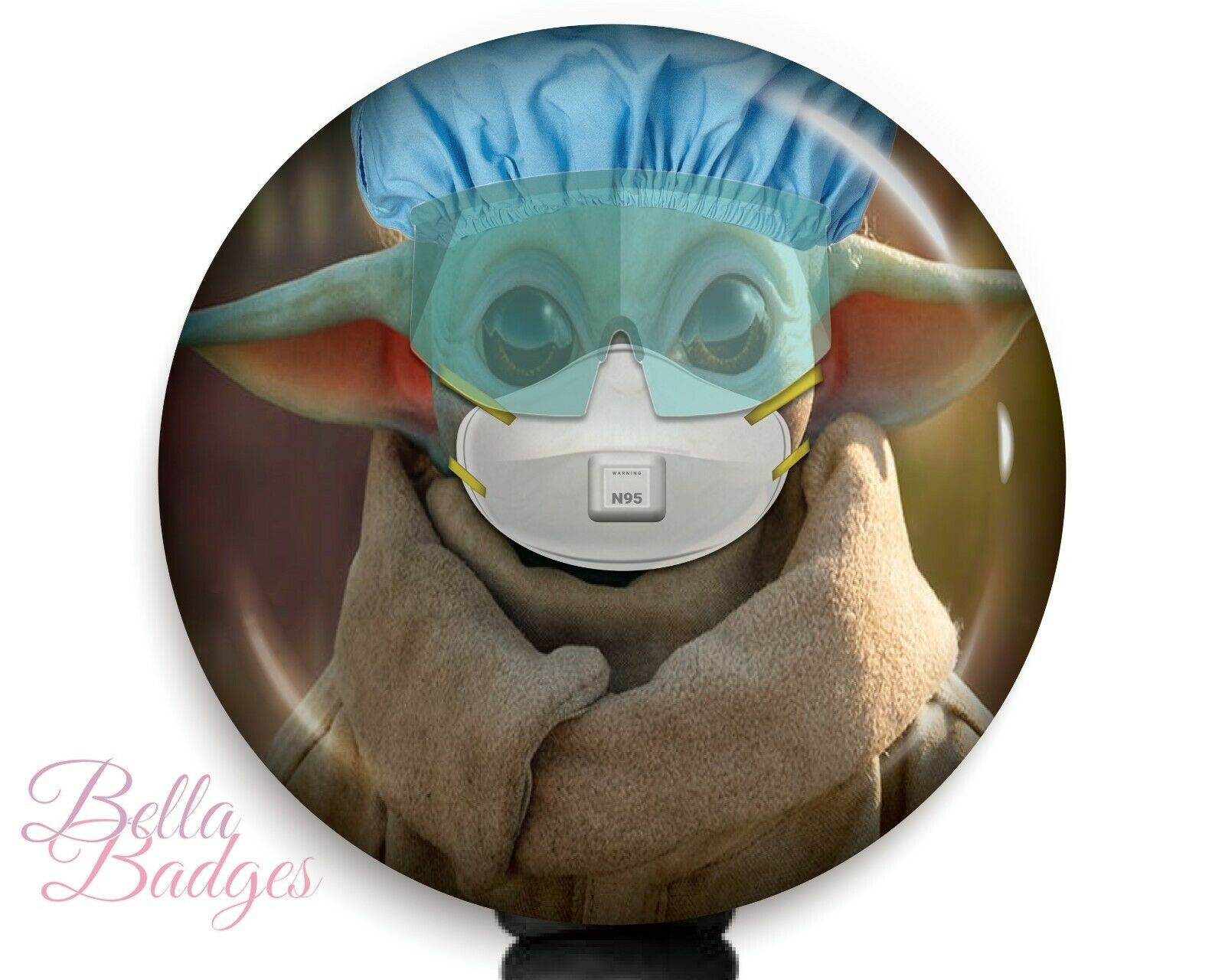 Baby Yoda PPE Badge Reel ID Holder Nametag Pull N95 Clip Retractable Pull