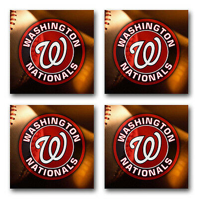 4 pack Washington Nationals Baseball Rubber Round Coaster set // RNDRBRCSTR2029