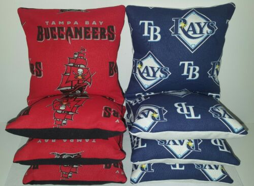 SET OF 8 ALL WEATHER TAMPA BAY BUCCANEERS RAYS CORNHOLE BAGS ***FREE SHIPPING***