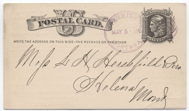 1881 Terminus Montana Scarce Railroad Post Office on Postal Card [1445]