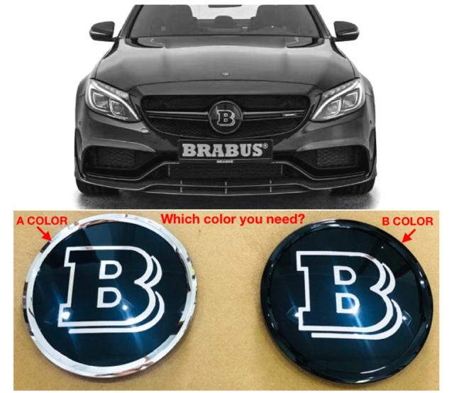 57mm FOR Mercedes Benz BRABUS Logo Front Flat Hood Metal Emblem Badge  C,E,S..