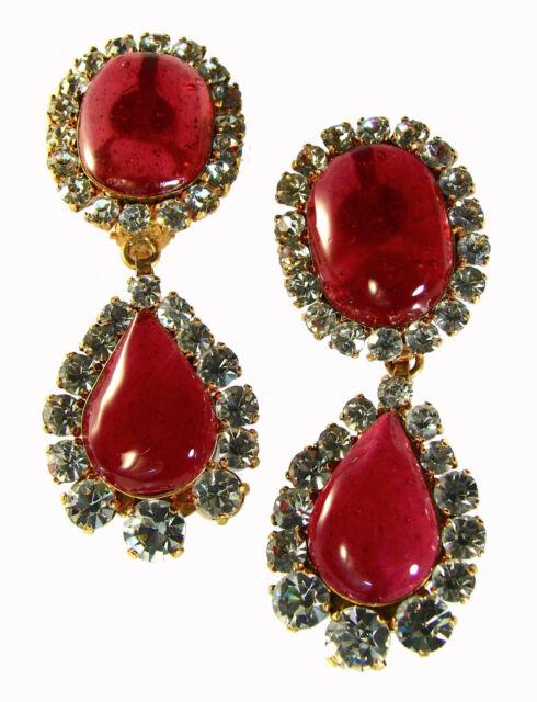 Chanel Tear Drop Earrings Chandelier Dangle Rose Gripoix Diamante Statement S29