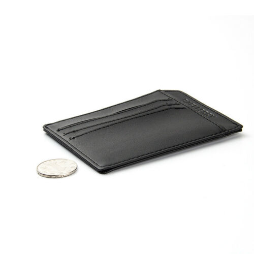 US FAST Mini Small Leather Wallet ID Card Holder Purse Black Fashion Men//Women