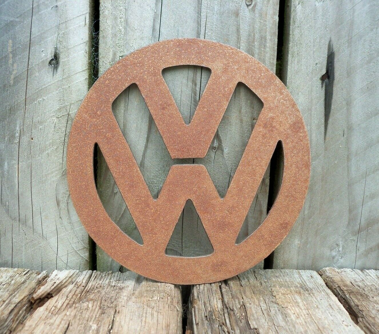A Rusty Metal VW BADGE SIGN Garden Ornament Rustic Vintage Gift Birthday Present