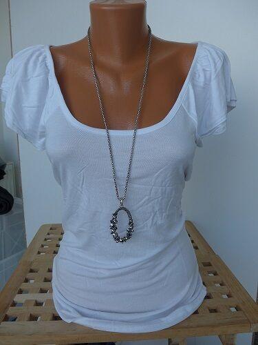 34-44 Weiß 976 Aniston Viskose Shirt Gr 1 Kurzarm NEU
