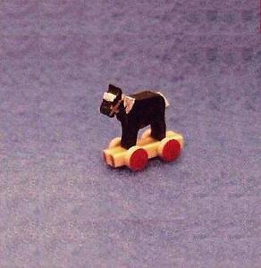 DOLLHOUSE Tiny Wood Horse - Wheels Toy Flade & Wiltner Artisan Brown WF3004 1-12