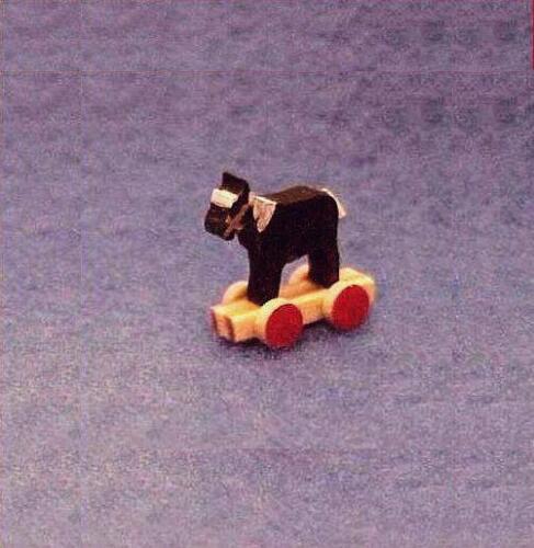 DOLLHOUSE Tiny Wood Horse Wheels Toy Flade /& Wiltner Artisan Brown WF3004 1-12