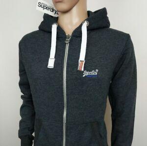 Hooded Superdry Mens con cappuccio Charcoal Full S Taglia Arancione Zip Jacket Nuovo Etichetta rrpHdxnw