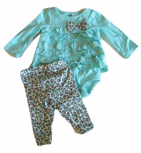Koala Baby Newborn Bodysuit Pant Cheetah Mint Girls Ruffles Bow
