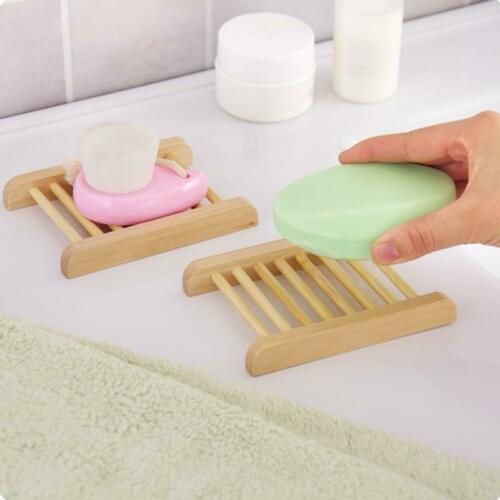 Details about  /10pcs Natural Wooden Bamboo Soap Dish Tray Holder Storage Soap Rack Bathroom